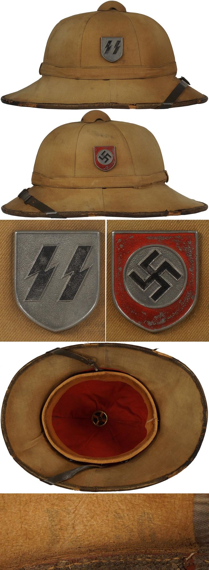 S018172 WAFFEN-SS FIRST PATTERN TROPICAL PITH HELMET. (Tropenhelm)  BACKGROUND: Originally tropical uniforms, headgear and equipment were first developed and introduced in late 1940 and early 1941 for wear by DAK, Deutsches Afrika Korps, (German Africa Corps), army personnel serving in North Africa. As the Waffen-SS were not engaged in North Africa they were not originally included in the issue of tropical items. Regulations issued in early 1941 actually prohibited Waffen-SS personnel from…