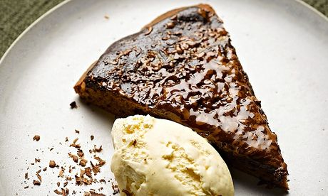 Simon Rogan's chocolate pizza recipe: serve with vanilla ice-cream. Food styling: Claire Ptak. Photograph: Colin Campbell for the Guardian
