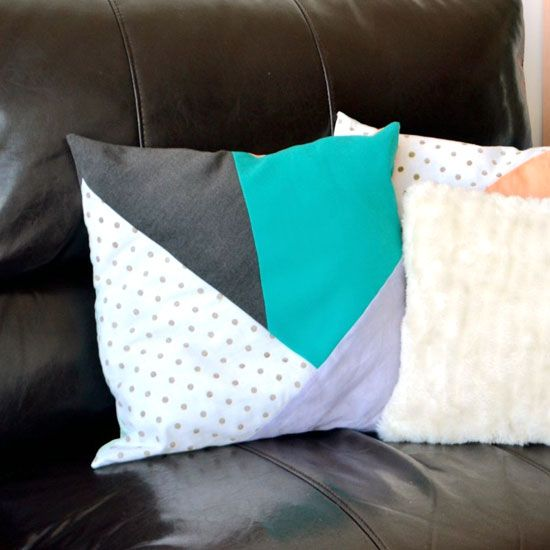 DIY tutorial for making your own geometric pillows from scrap fabrics. Add a gorgeous pop of colour to your living or bedroom!