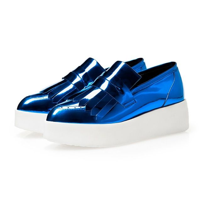 Womens Patent Leather Loafers Casual Slip on Platform Creepers blue silver