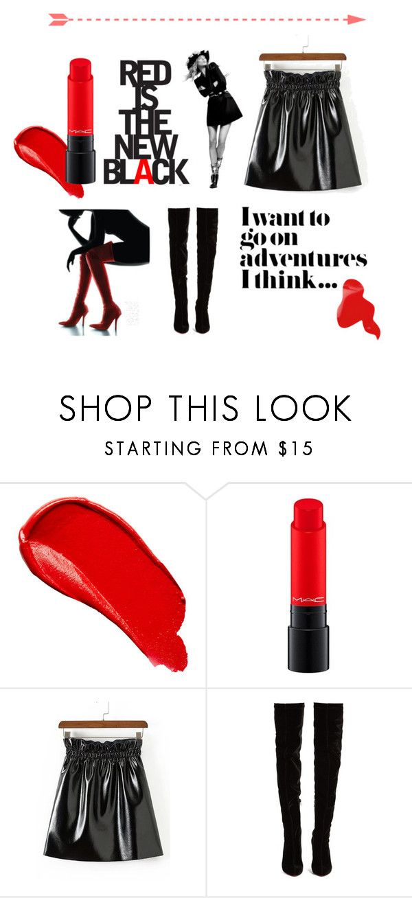 """""""Red is the new BLACK"""" by iris234 on Polyvore featuring Burberry, MAC Cosmetics and Christian Louboutin"""