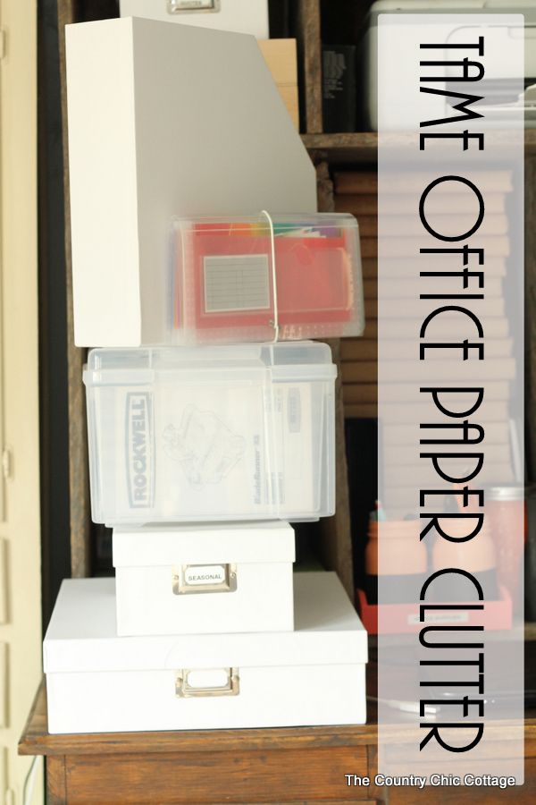 Get tips and tricks for taming office paper clutter in this great post!  Get organized in your home office this year!