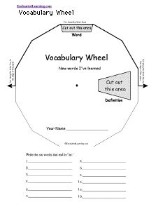 Word Wheel Template (Need to Replicate because it is not free) - Area Wheel