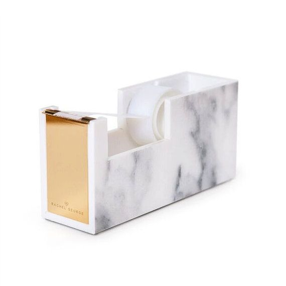 Rachel George Acrylic Marble & Gold Tape Dispenser