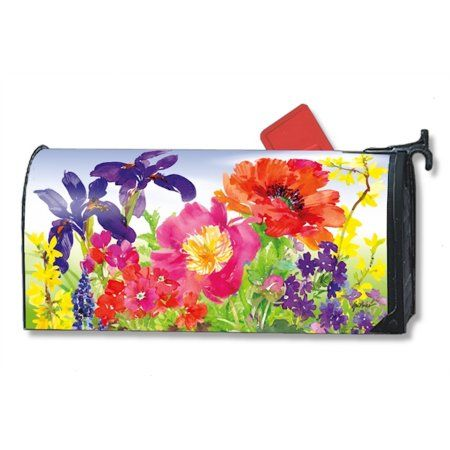 Beautiful Garden Blooms Spring Magnetic Mailbox Cover Floral MailWraps Standard