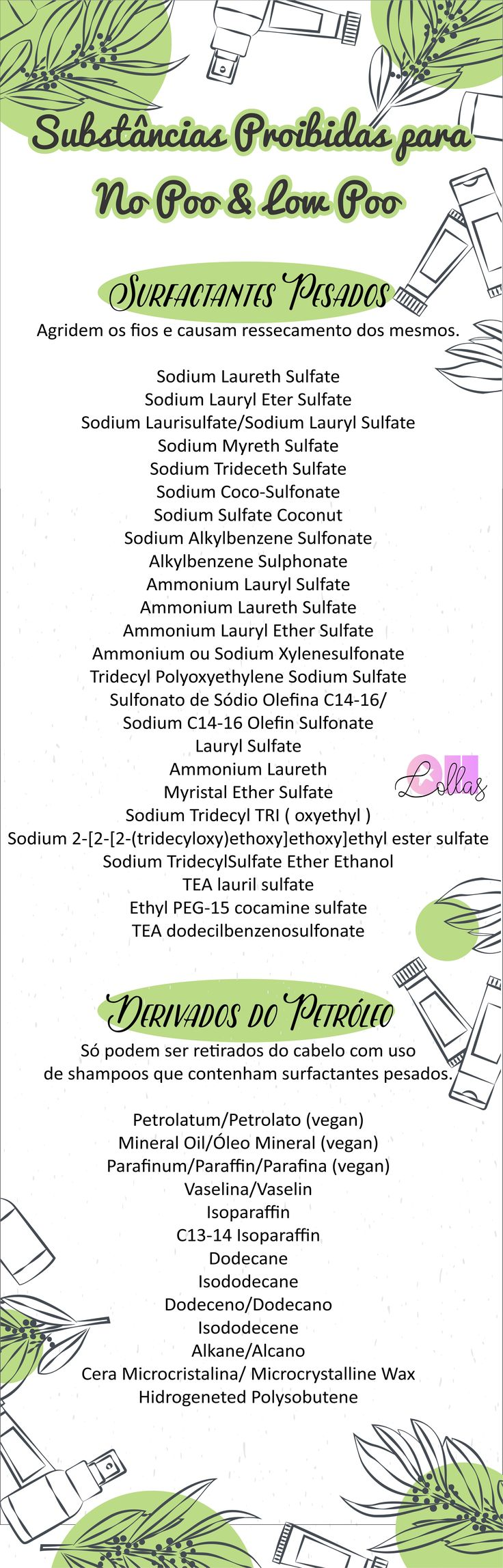 Lista de substâncias proibidas e liberadas para No Poo e Low Poo. The curly girl…