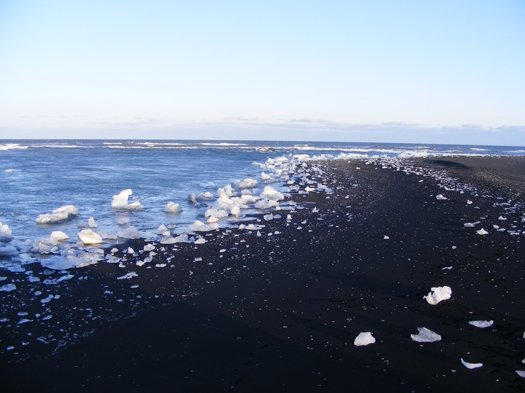 Black sand beach, near the Ice Lagoon (Jokulsarlon), Iceland
