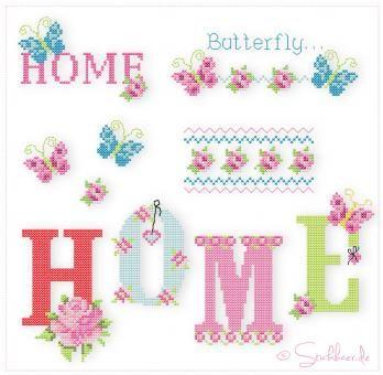 Der Stickbär | Butterfly & Roses | Stickmuster mit Herz