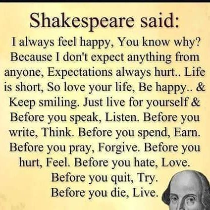 Shakespeare said: I always feel happy, You know why? Because I don't expect anything from anyone, Expectations always… http://itz-my.com