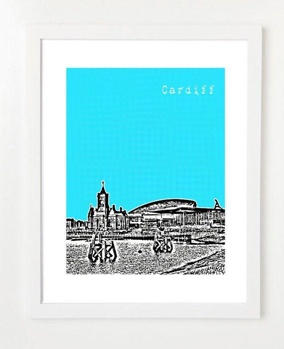 Cardiff Poster - Wales City Skyline Series Art Print - 8x10 - Cardiff Bay - Millennium Centre on Etsy, $12.38