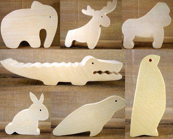 Wählen Sie 4 Holztiere / / Montessori Spielzeug