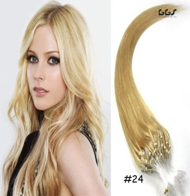 Micro Ring Hair Extensions #22 Medium Blonde Straight Wave Brazilian Hair Unprocessed Virgin Remy Nano Loop Hair Weaves 5A 100g