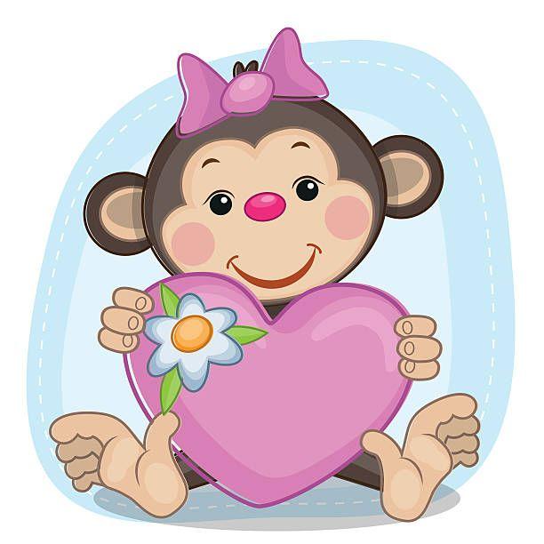 Monos y corazón - ilustración de arte vectorial
