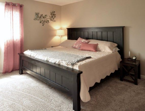 Custom Farmhouse Bed Made From Solid Pine Finished Or Unfinished