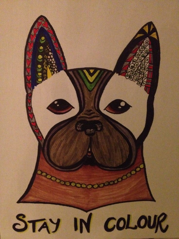"""Stay in colour"", frenchie doodle design painted with Promarkers on canvas"