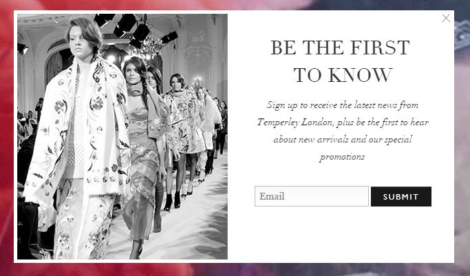 temperley email signup popup