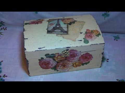 Tutorial: Decoupage su bauletto di legno con carta di riso, effetto shabby chic e cracklè [eng-sub] - YouTube