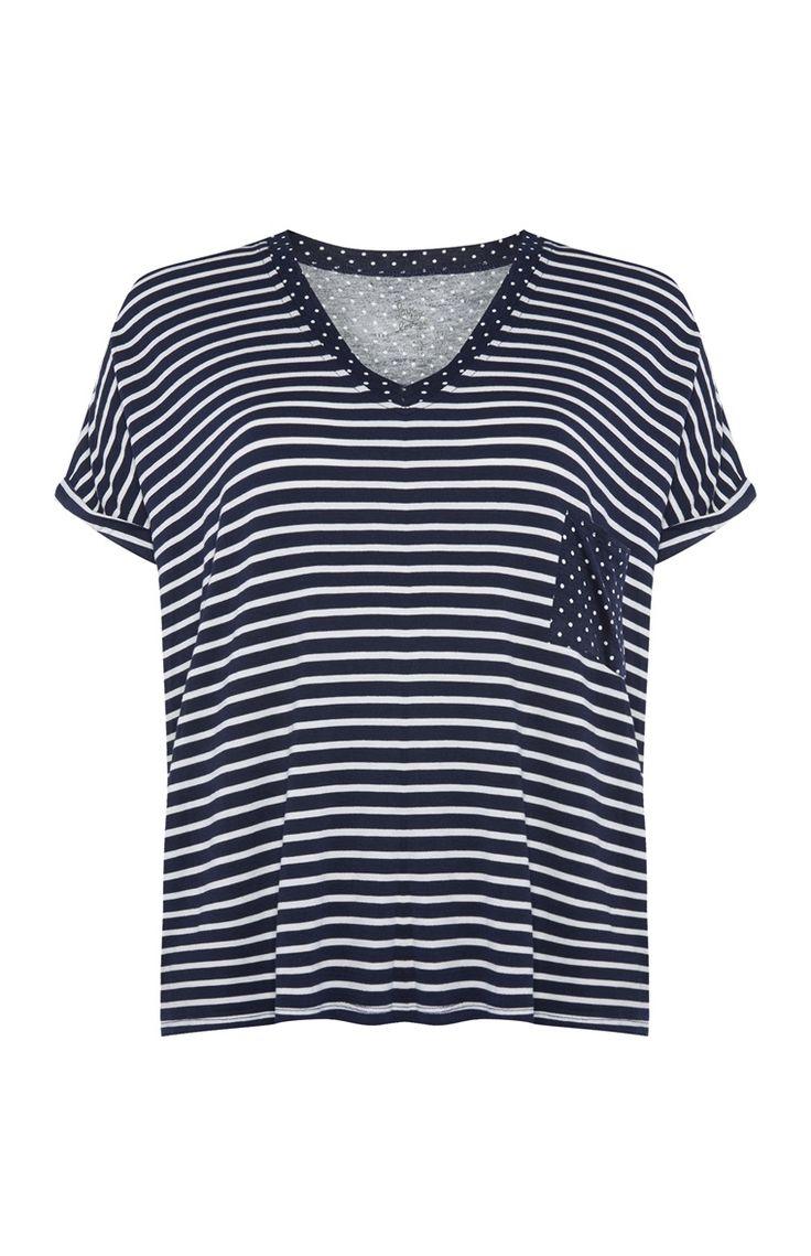 Primark - Blauw met wit gestreept T-shirt