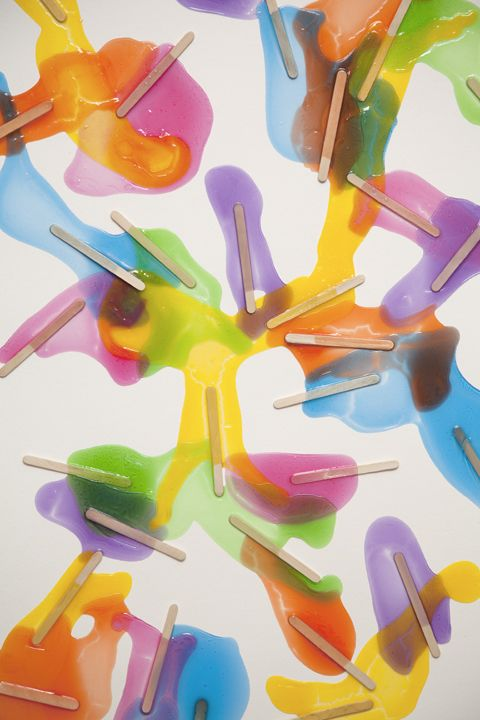 Detail of Popsicles (Rainbow) #14. 2011 Gloss medium, popsicle sticks, india ink on paper — Designspiration