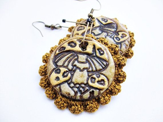 Bilateral mushroom earrings with crochet  polymer by spikycake, $20.00