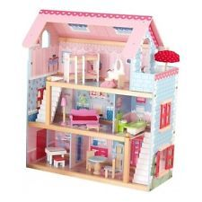 Large Doll Cottage House Furniture Dollhouse Girls Pink Play Chelsea Play Wood