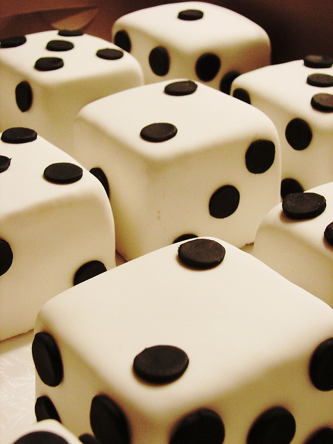 Dice Cupcakes. Need to make some that are D20s and D10s. Maybe even some D8s.
