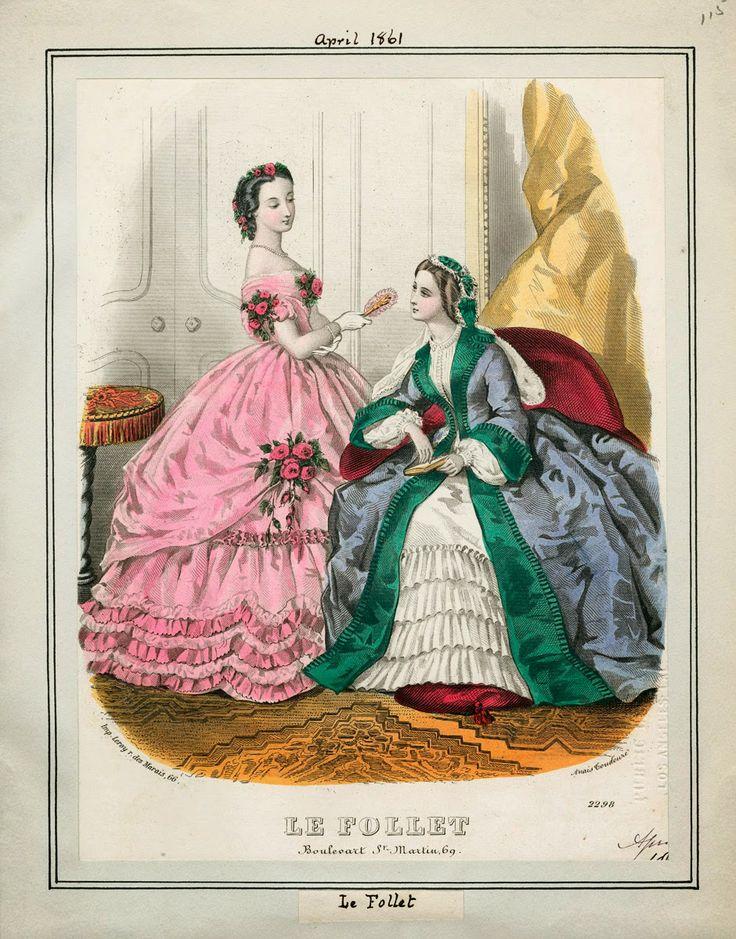 In the Swan's Shadow: Le Follet, April 1861  Civil War Era Fashion Plate