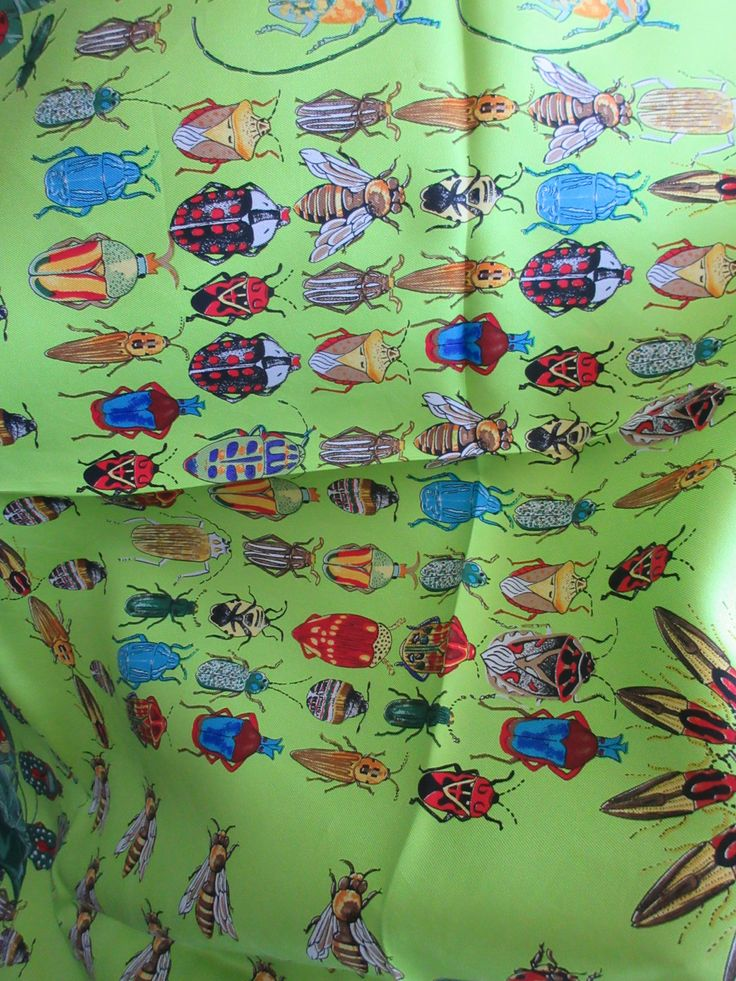 Lady bug and beetle silk scarf, Echo,large square, lime green background, fun…