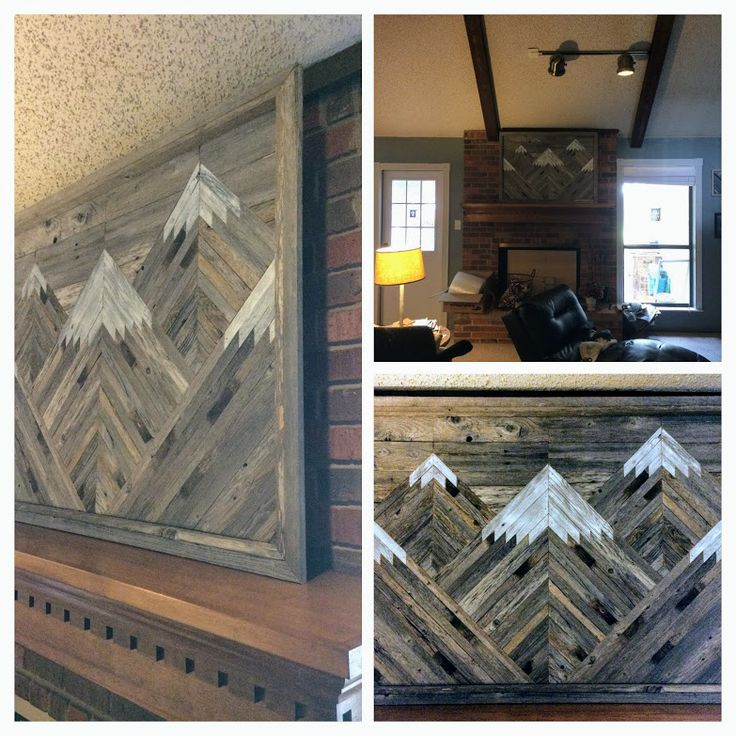 Large Rustic Mountain Wall Art With Multiple Peaks Using Reclaimed Wood.