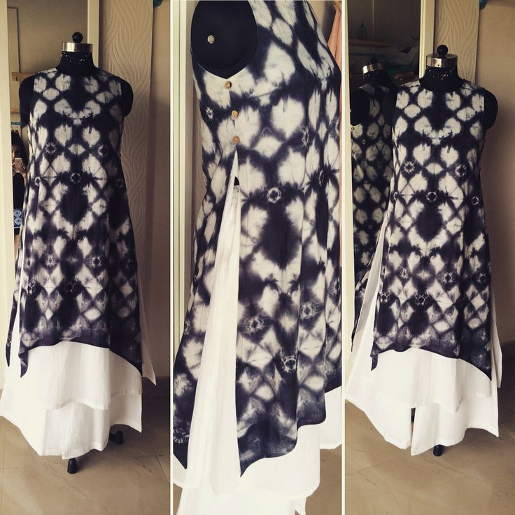 Tie and dye double layered kurta by Sarah couture