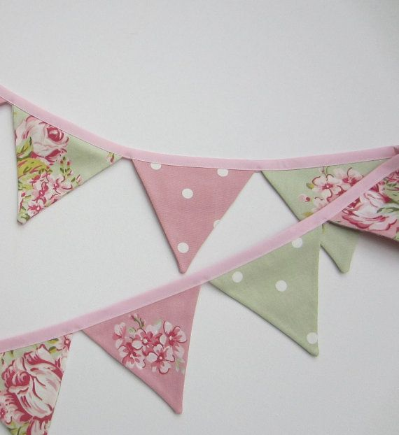 Mini Bunting Pink and Sage Green Fabric by AllTheTrimmingsUK
