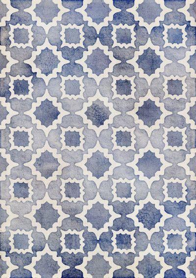 Worn & Faded Navy Denim Moroccan Pattern in grey blue & white Art Print