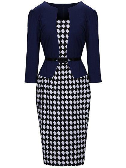 Women Office Plaid Belt Bodycon Dress 1