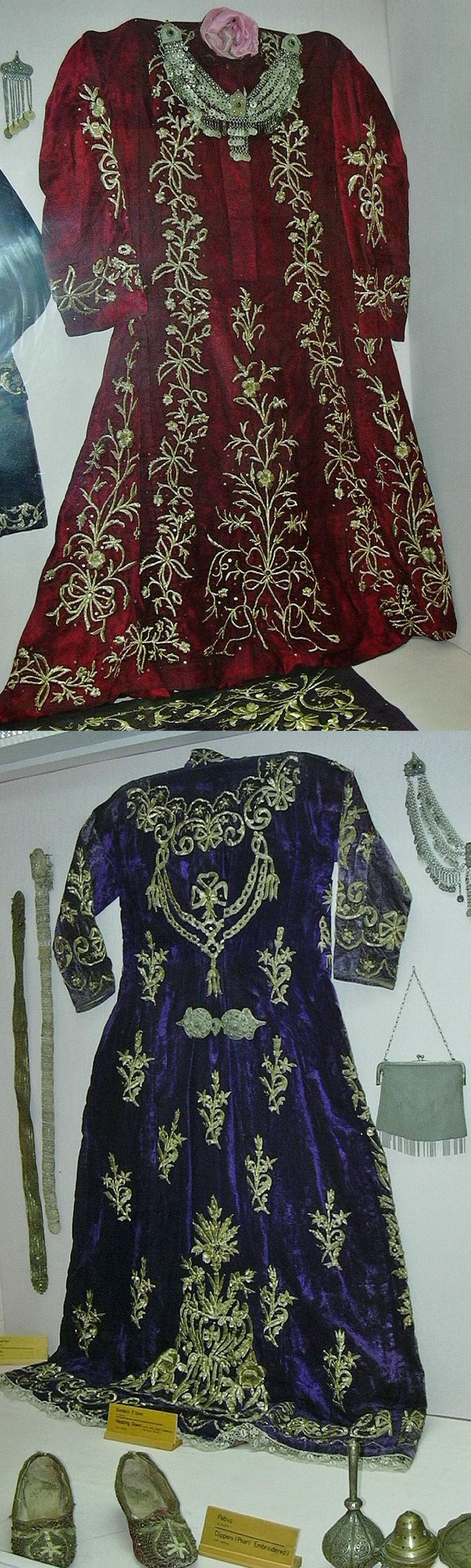 Two bridal/festive embroidered 'entari' (robe).  Urban style, late 19th century.  On exhibit (2003) in the Yalvaç Museum (Isparta province).  (Picture: J.M. Criel – Archives of Kavak/Antwerpen).