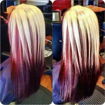 Blonde and red shadow box | Hair colors | Pinterest