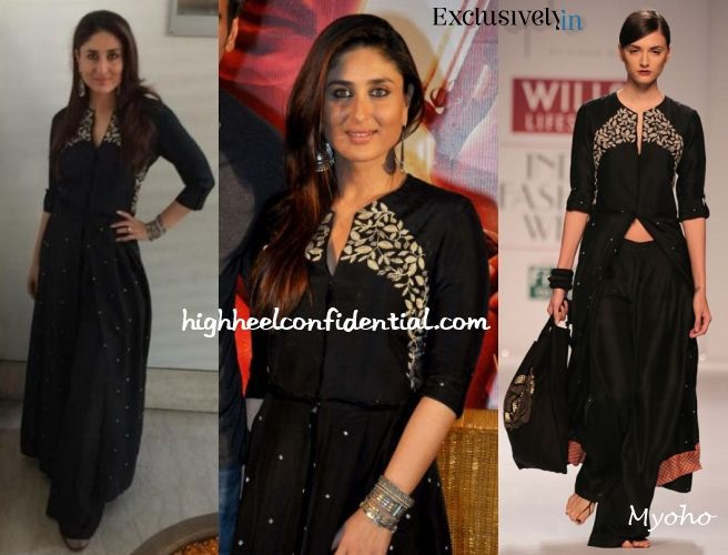 After doing black and white dress look on Saturday, Kareena gave us another one on Sunday this time though doing a desi fusion look (in Myoho) with silver jewellery from Aquamarine. A messy braid would've really sealed the deal here but that is not to say she didn't look pretty.