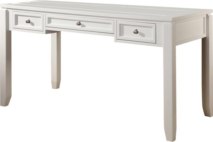 Features:  -Three drawers are functional.  -Cottage white design.  -Transitional style.  Desk Type: -Writing desk.  Top Finish: -Cottage white.  Base Finish: -Cottage white.  Accent Finish: -Cottage w