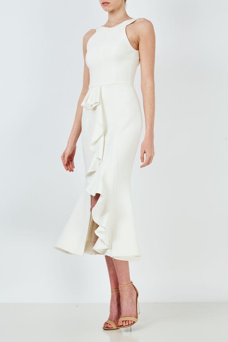 NICHOLAS - Crepe Asymmetric Ruffle Dress Ivory