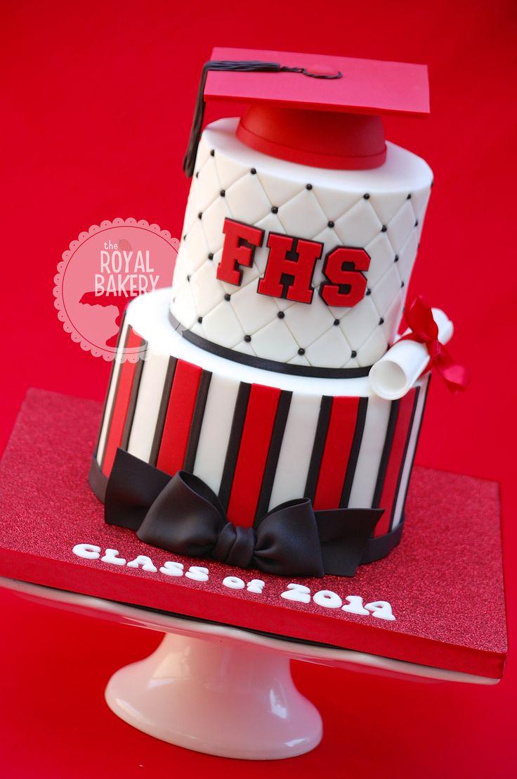 "High School Graduation Cake - A graduation cake in high school colors. 7/5"" 3"" half styro ball grad cap."
