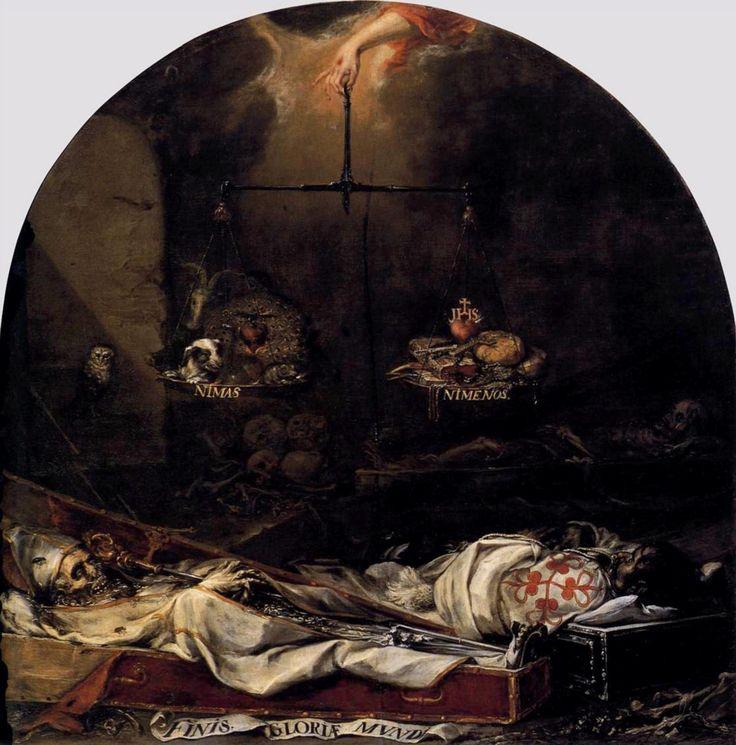 """Esta obra titulada """"Finis gloriae mundi"""", pintada por Juan de Valdés Leal, representa el tópico literario Aurea mediodritas (""""Dorada medianía""""). Nos muestra una balanza de mesura que pesa pecados y virtudes. Los platos de la balanza se rotulan """"Ni más""""-""""Ni menos"""", alcanzando un término medio equilibrado."""