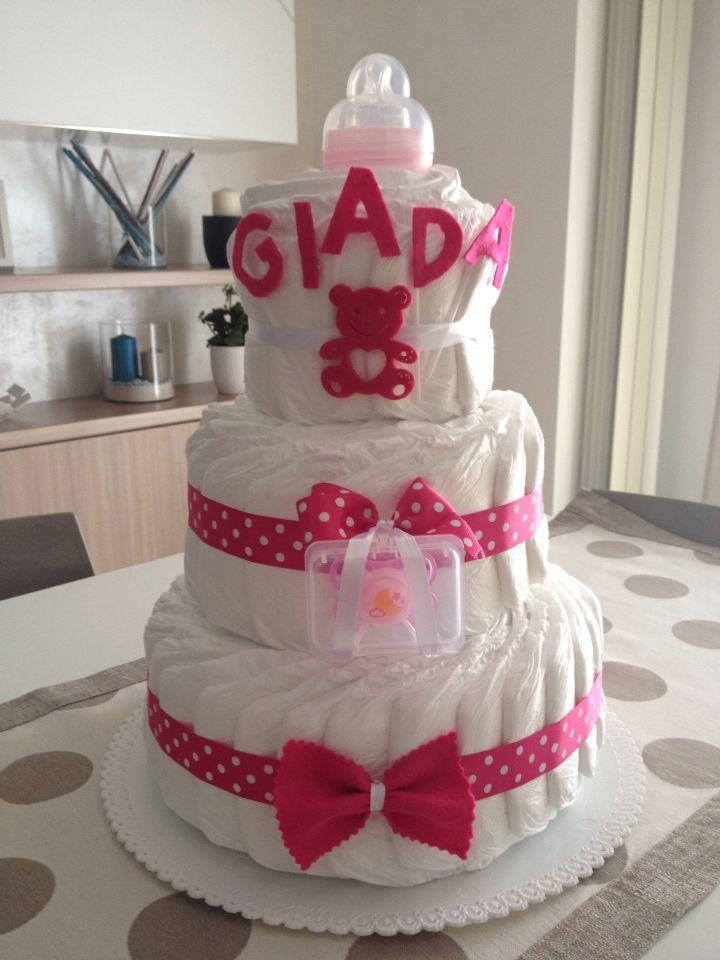 #diaperscake #girl #pink #pannolini pillo #mustela #babyshower