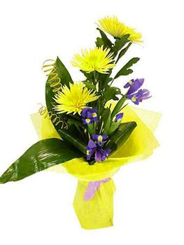 Букет Улыбка  Улыбку можно сравнить с солнцем. Улыбка согревает и дарит радость. Именно поэтому этот яркий, солнечный букет, носит такое название. Великолепные цветы хризантемы Анастасии похожи на солнечные зайчики, не только ярко — жёлтым цветом, но и строением цветка. Каждый лепесток как маленький лучик солнца, способный осветить самую тёмную ночь. А насыщенный цвет ирисов напоминает о глубине летнего неба, даря тепло в любое время года.