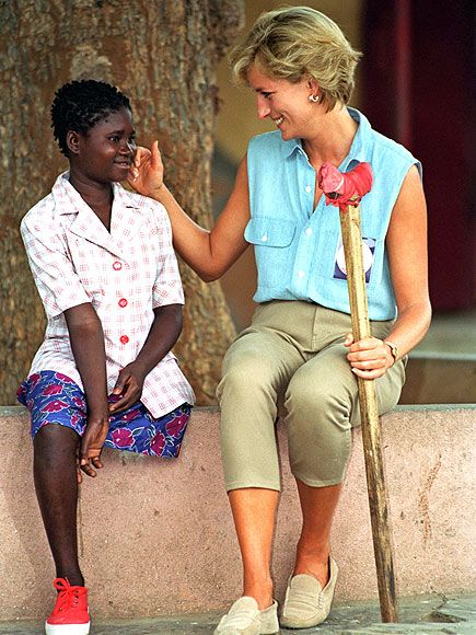 "Luanda, AngolaOn a Red Cross mission, Diana chats with Sandra Tigica, who lost her leg to a land mine, at an orthopedic workshop in Neves Bendinha. ""There was not much hope for me or my country then,"" Tigica had said of Diana's Jan. 14, 1997, visit. ""But Diana turned that around. Because of her, Angola was able to get help from the world."""