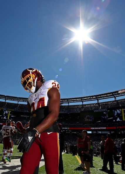 Josh Norman of the Washington Redskins looks on before the game against the New York Giants at MetLife Stadium on September 25 2016 in East...