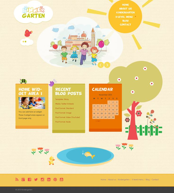 Kindergarten is based on Bootstrap 3 and designed for kindergarten/pre-school/nursery.