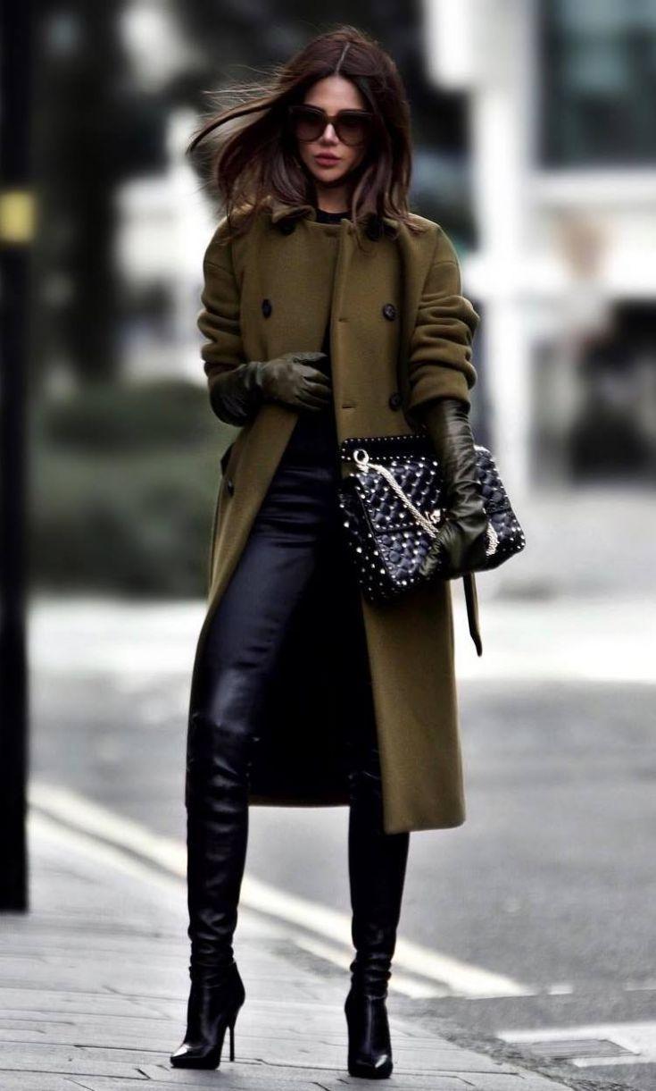 290796eb8 Women S Fashion Designer Labels. elegant winter outfit / olive coat + bag +  over knee boots + black skinnies