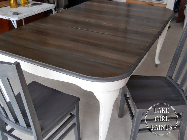 Lake Girl Paints Dining Table Peeks Of Wood Grain
