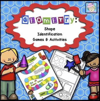Geometry  Shape Identification Games and ActivitiesREVISED AS OF 11 10 15   This set comes with 3 games  2 one page board games and a matching game with 2 sets of cards  The games cover both 2D  flat  and 3D  solid  shapes  Directions and a shape list are also included