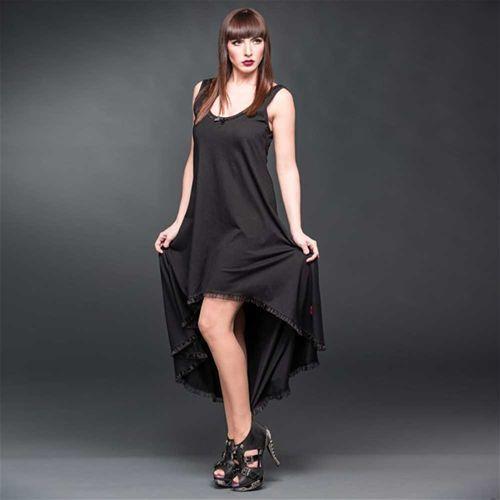 Lange high low jurk met kanten rug detail zwart - Gothic