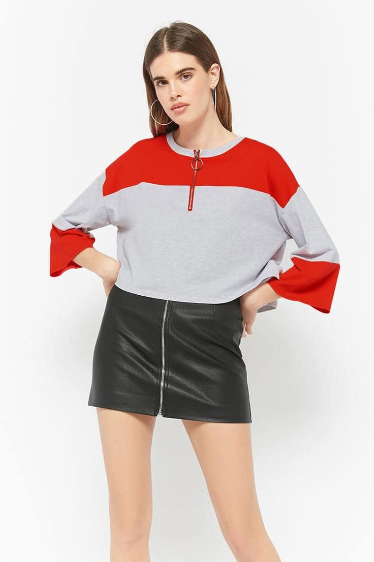 Product Name:Colorblock Pull-Ring Crop Top, Category:CLEARANCE_ZERO, Price:35